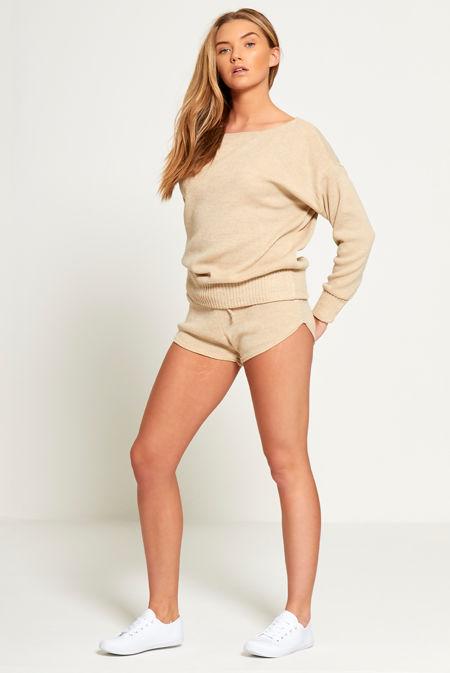 Plus Size Beige Slash Knit Jumper And Short Set