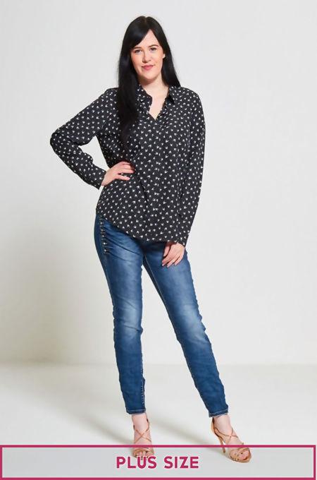 Plus Size Black Beatrice Bird Print Shirt