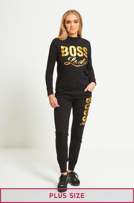 Plus Size Black Boss Lady Customized Tracksuit