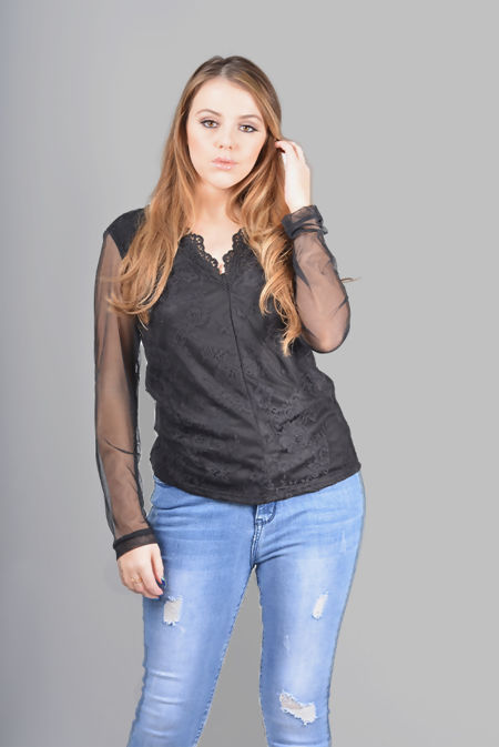 Plus Size Black Crochet Lace V-Neck Top