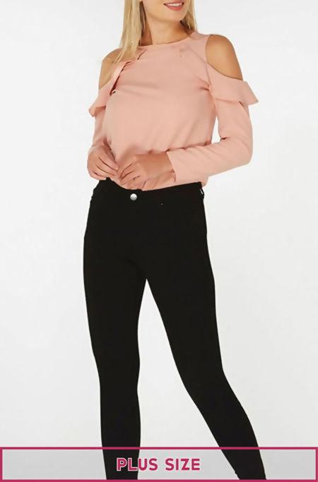 Plus Size Black Five Pocket Jeans
