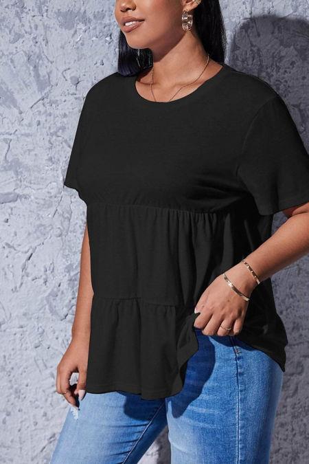 Plus Size Black Jersey Frill Hem Smock Top