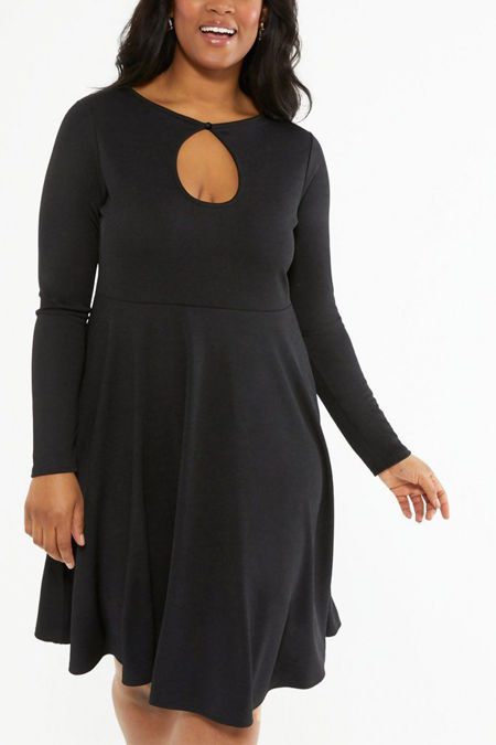 Plus Size Black Keyhole Long Sleeve Skater Dress