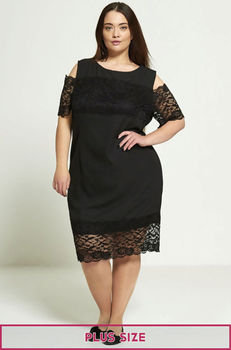 Plus Size Black Lace Detail Dress