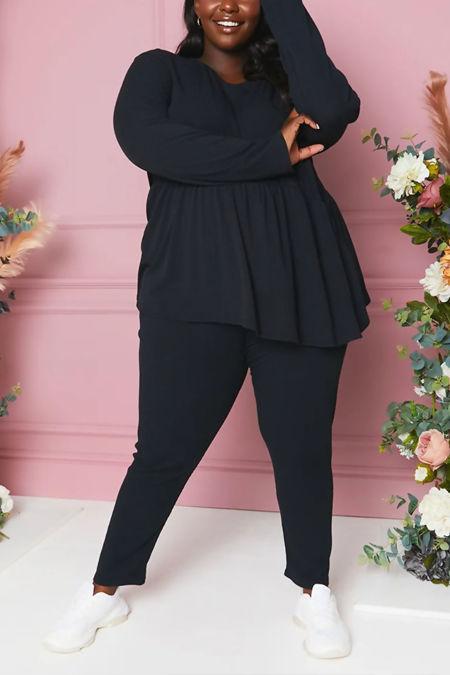 Plus Size Black Ribbed Peplum Top & Leggings Set