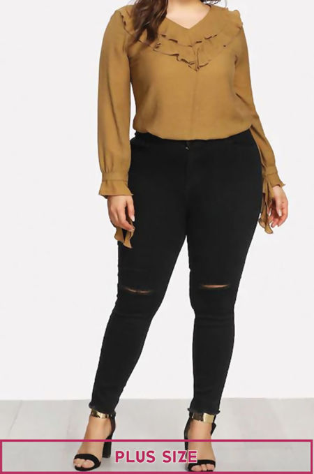 Plus Size Black Ripped Knee Skinny Jeans