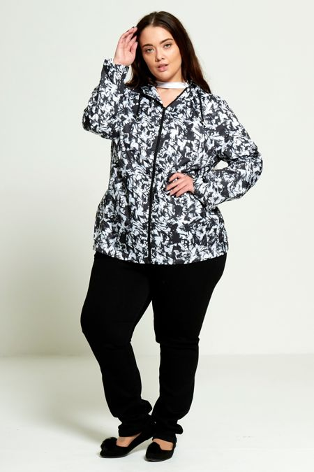 Plus Size Black Tie Dye Showerproof Mac
