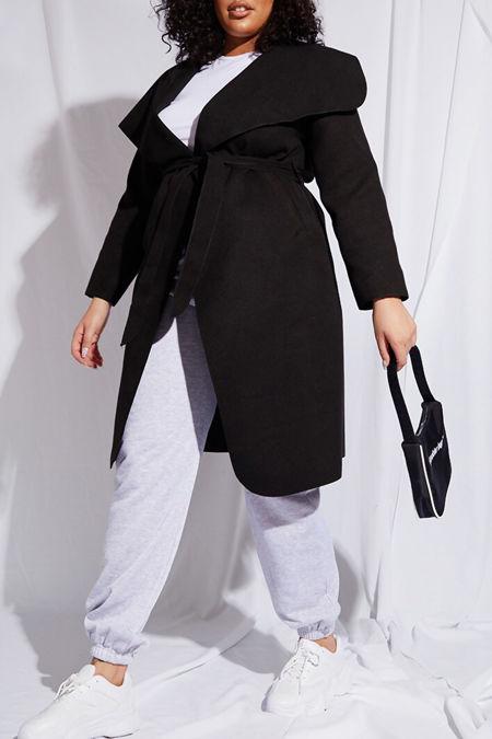 Plus Size Black Waterfall Draped Duster Coat