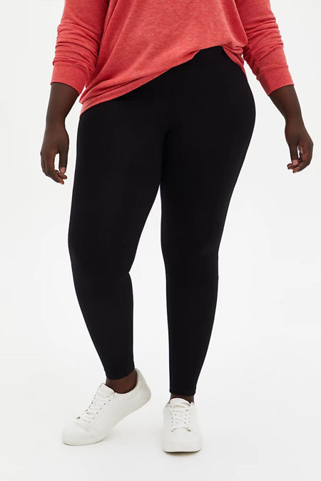 Plus Size Black Wide Waistband Seamless Leggings
