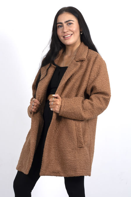Plus Size Brown Textured Longline Coat