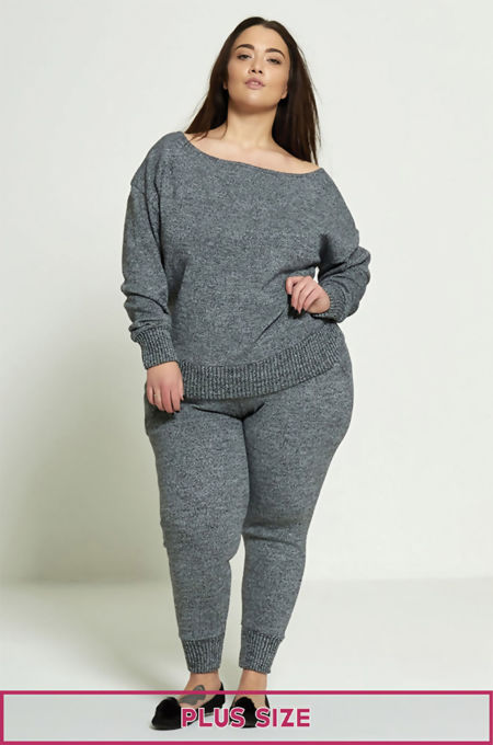 Plus Size Charcoal Lounge Wear Set