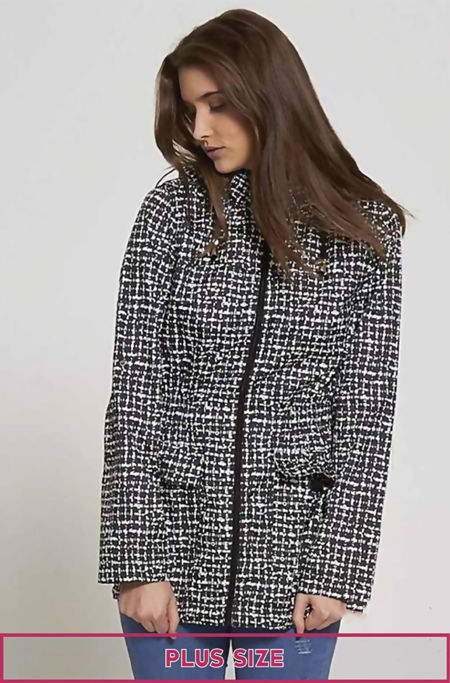 Plus Size Checked Black Rain Coat
