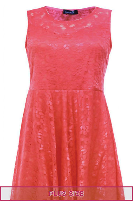 Plus Size Coral Sleeveless Floral Lace Skater Dress