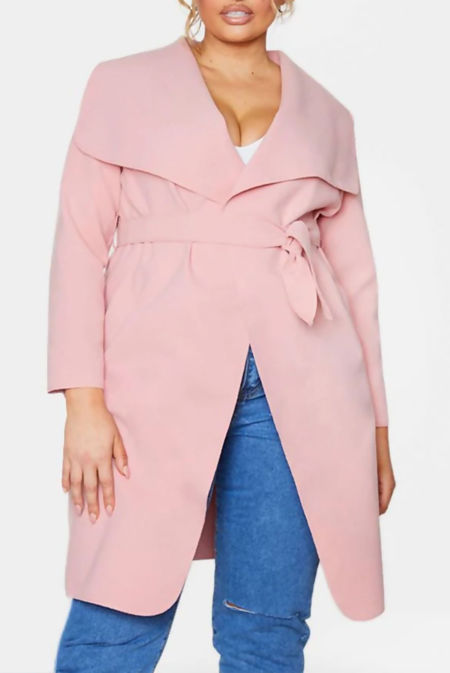 Plus Size Dusty Pink Waterfall Drapped Duster Coat