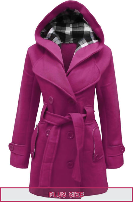 Plus Size Fuchsia Double Breast Coat