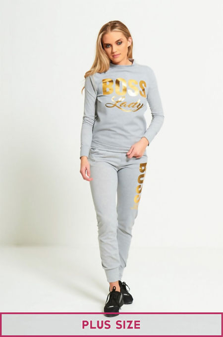 Plus Size Grey Boss Lady Customized Tracksuit