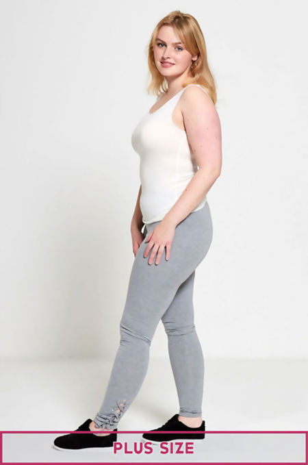 Plus Size Grey Curve Eyelet Lace-Up Hem Leggings