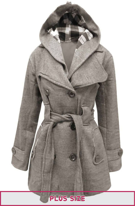Plus Size Grey Double Breast Coat