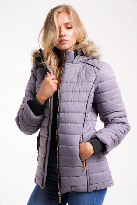 Plus Size Grey Faux Fur Lined Hood Puffa Coat
