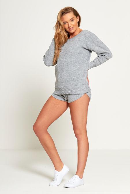 Plus Size Grey Marl Slash Knit Jumper And Short Set