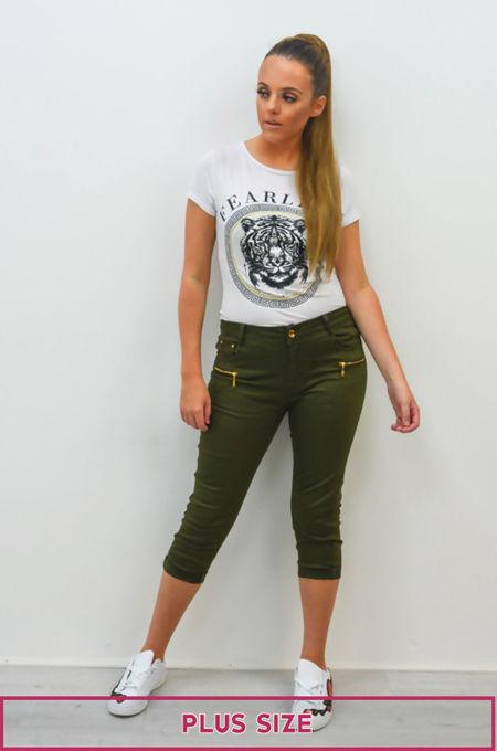 Plus Size Khaki 3/4 Length Jeans