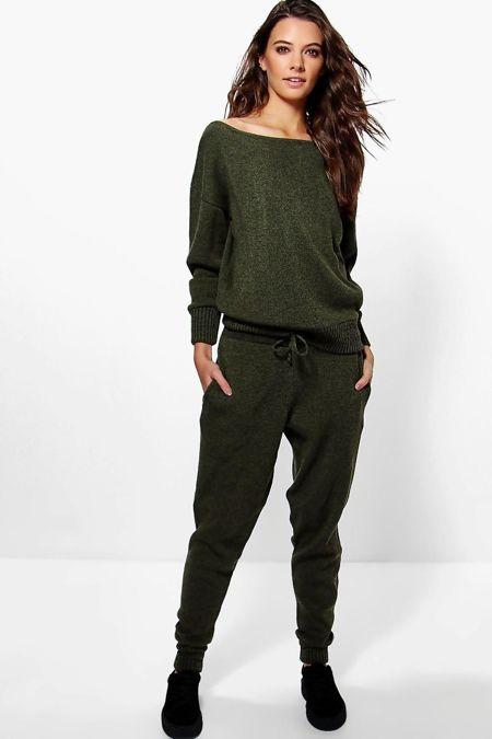 Plus Size Khaki Lounge Wear Knitted Set