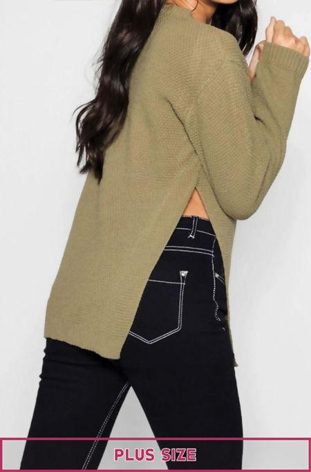Plus Size Khaki Side Split Moss Knitted Jumper
