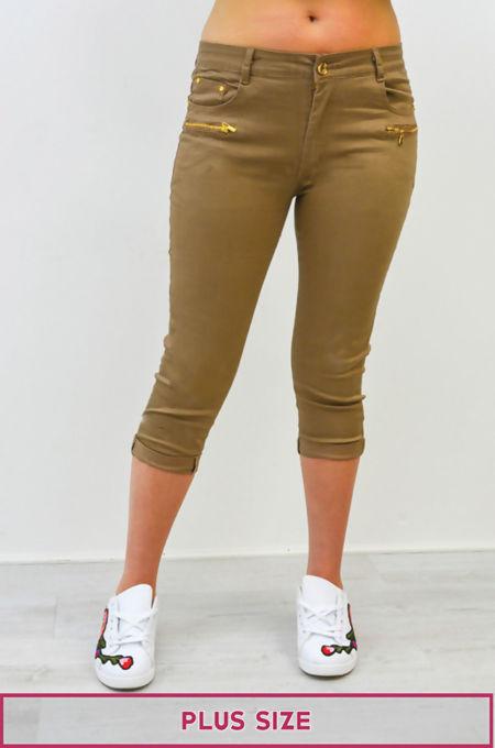 Plus Size Mocha 3/4 Length Jeans
