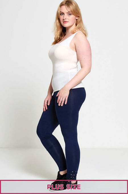 Plus Size Navy Curve Eyelet Lace-Up Hem Leggings