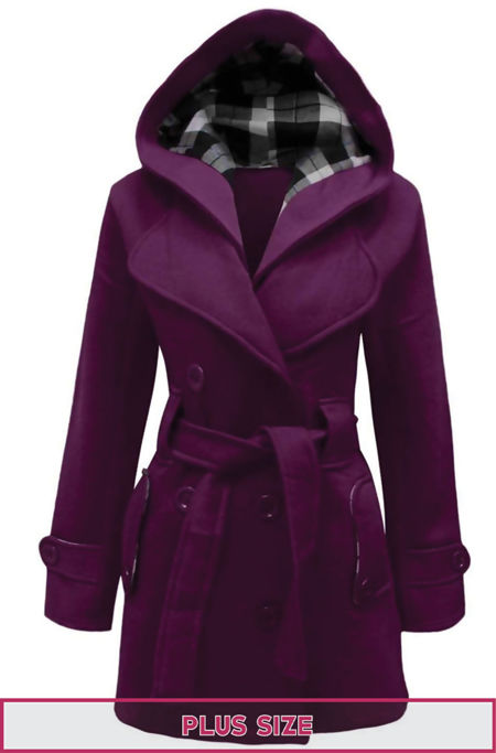 Plus Size Purple Double Breast Coat