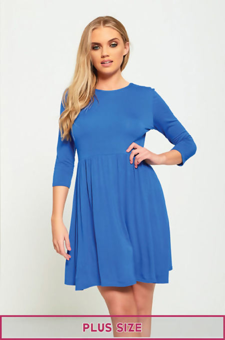 Plus Size Royal Plain Basic Skater Mini Dress