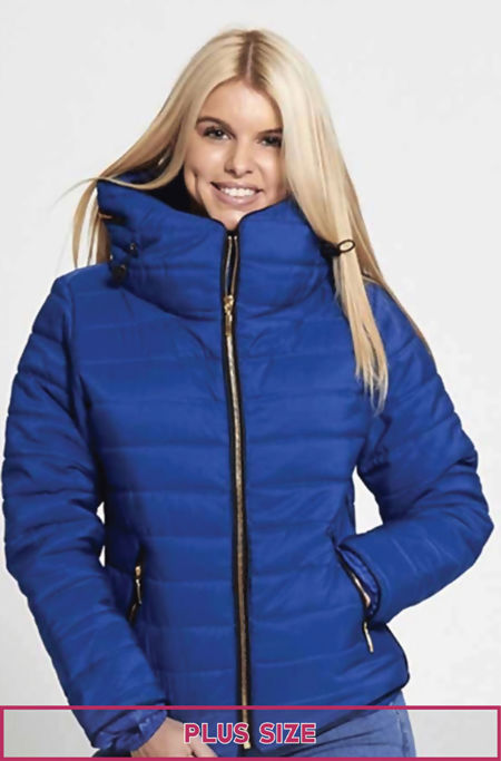 Plus Size Royal Quilted Padded Bubble Puffer Fur Collar Jacket