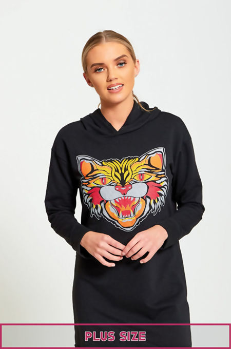 Plus Size Tiger Print Black Pullover Sweat Dress