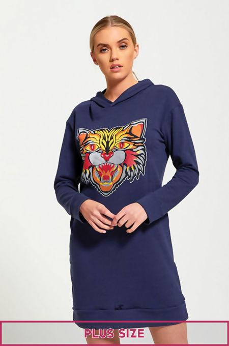 Plus Size Tiger Print Navy Pullover Sweat Dress