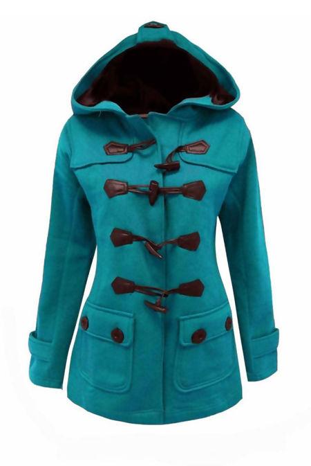 Plus Size Turquoise Fleece Hooded Toggle Jacket