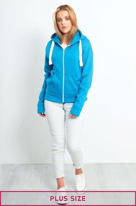 Plus Size Unisex Turquoise Plain Hoodie