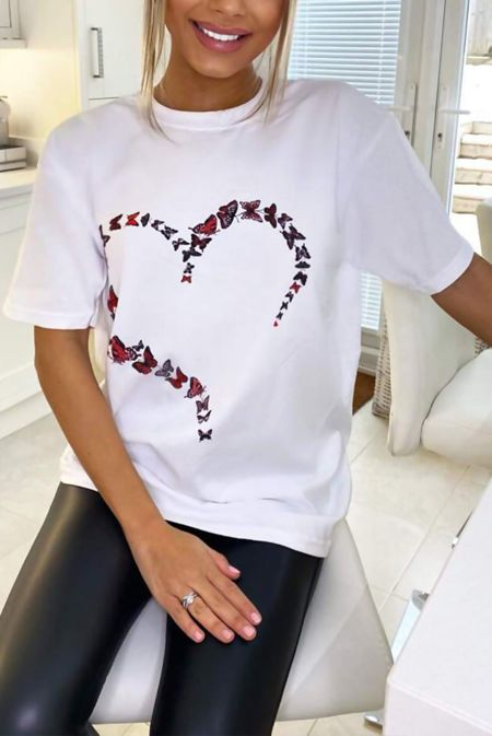 Plus Size White Butterfly Heart Printed Oversized Tee