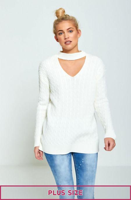 Plus Size White Choker Neck Knitted Jumper