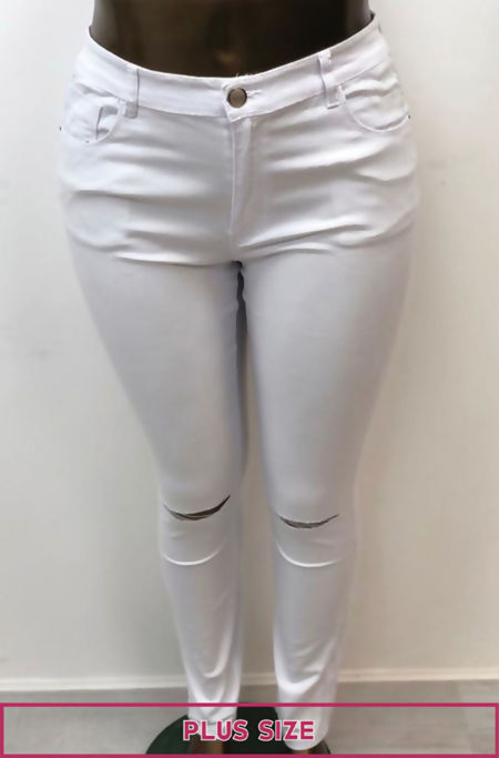 Plus Size White Ripped Knee Skinny Jeans