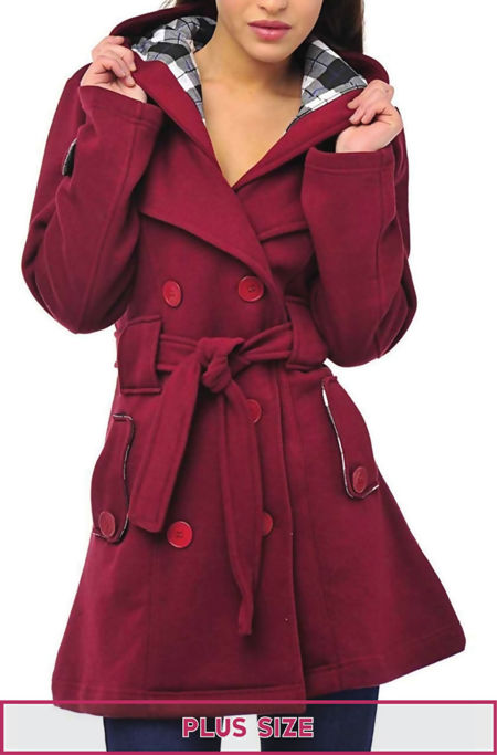 Plus Size Wine Double Breast Coat
