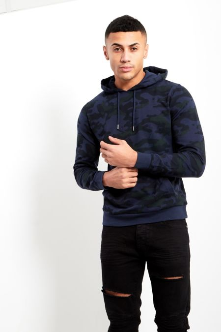 Blue Camo Print Pullover Hoodie