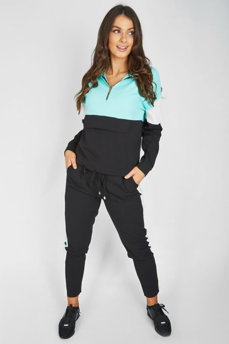 Turquoise Pouch Pocket Colour Block Tracksuit
