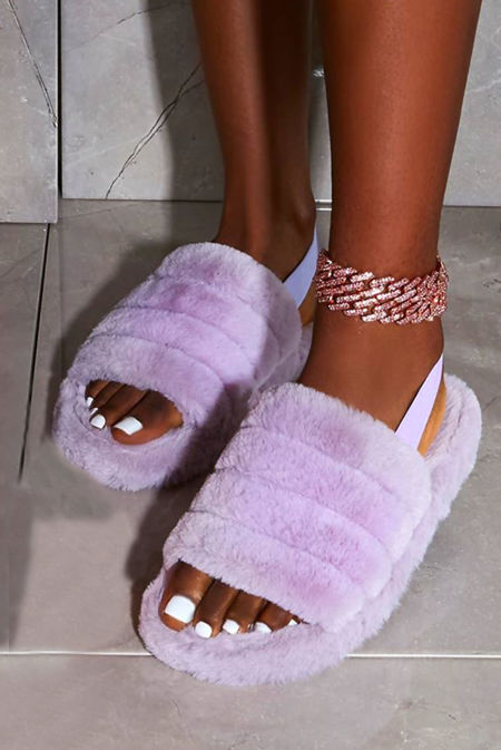 Purple Faux Fur Fluffy Stripe Slipper
