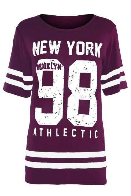 Plus Size Purple New York 98 Oversize T-Shirt
