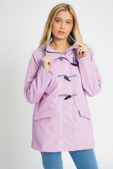 Pastel Lilac Rubberised Rain Mac With Toggles