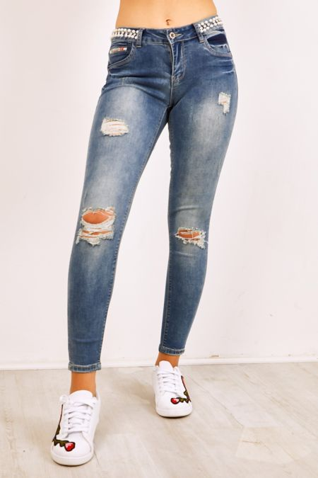 Pearl And Diamante Waist Ripped Knee Skinny Jeans