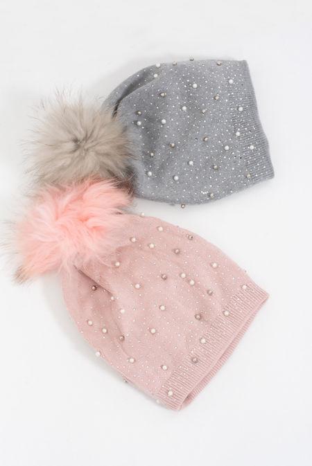 Pearl Diamante Knitted Faux Fur Beanie