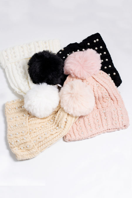 Pearl Embellished Knitted Beanie Hat