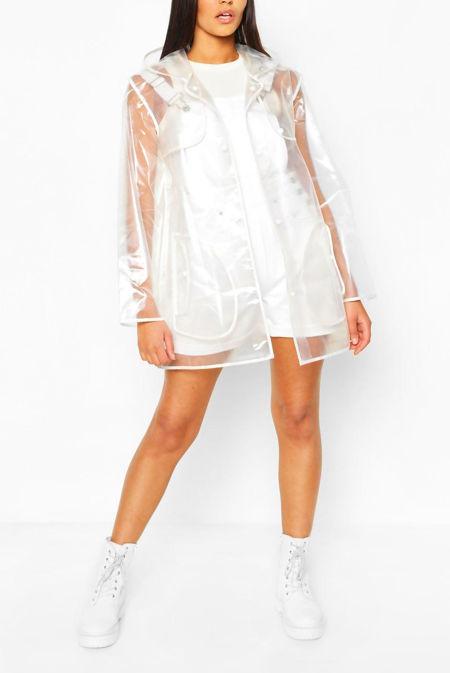 Plus Size Pearl Trim Transparent Rain Mac