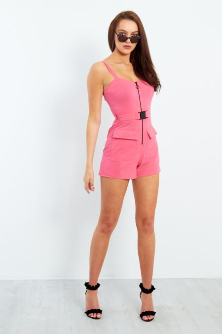 Pink Belted Cargo Playsuit